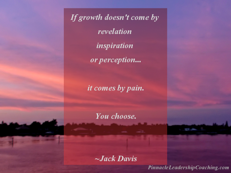 If growth doesn't come by revelation, inspiration, or perception, it comes by pain. You choose. - Jack Davis